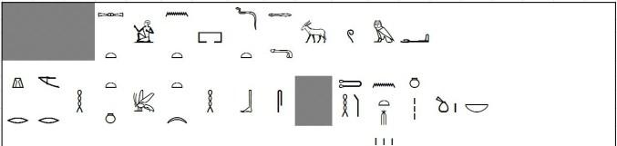 Начало отрывка иероглифического текста жизнеописания областного князя Sbni.